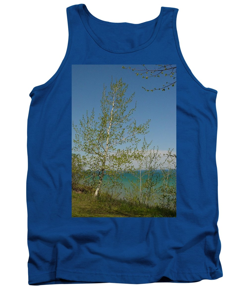 Birch Tree Tank Top featuring the photograph Birch Tree Over Lake by Anita Burgermeister