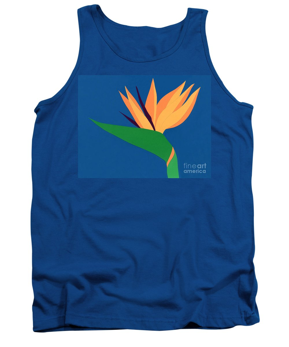 Nature Tank Top featuring the drawing Bird Of Paradise by Lucyna A M Green