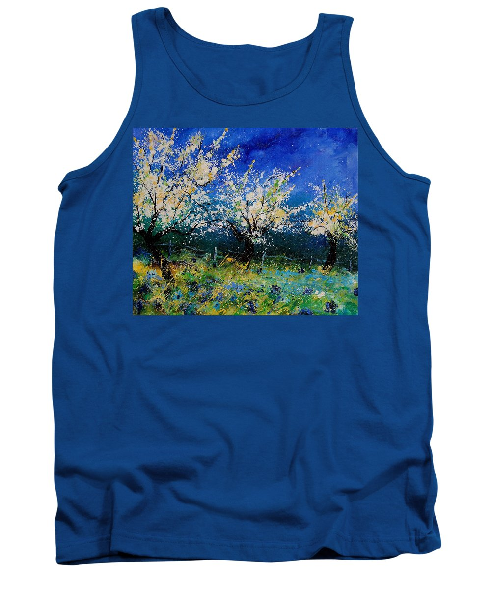 Landscape Tank Top featuring the painting Blooming Appletrees 56 by Pol Ledent