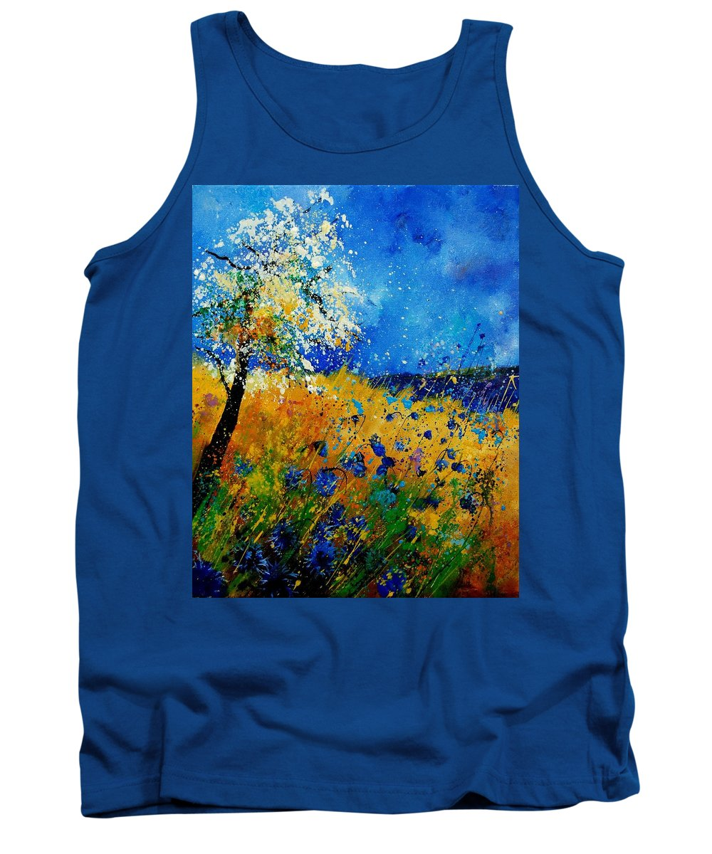 Poppies Tank Top featuring the painting Blue Cornflowers 450108 by Pol Ledent