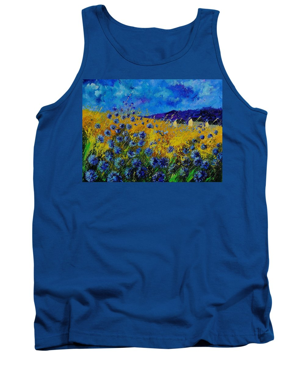 Poppies Tank Top featuring the painting Blue Cornflowers by Pol Ledent