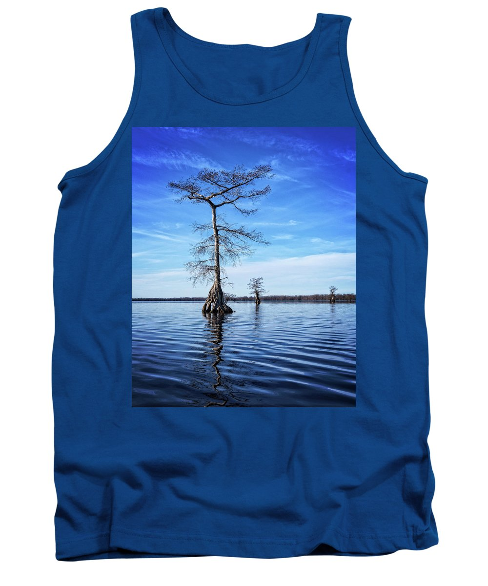 Tree Tank Top featuring the photograph Blue Cypress by Alan Raasch