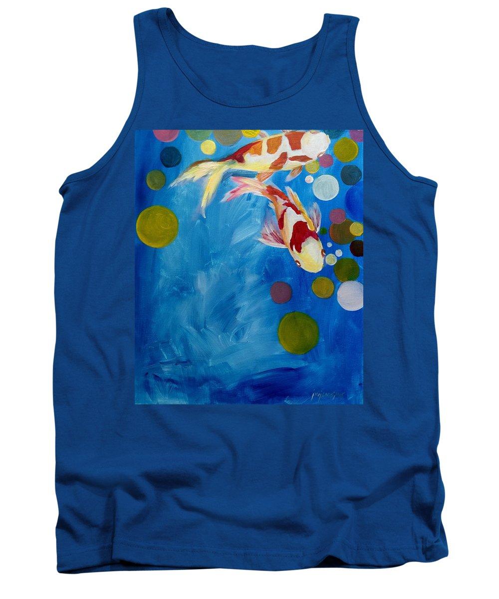 Koi Tank Top featuring the painting Blue Lagoon by Jun Jamosmos