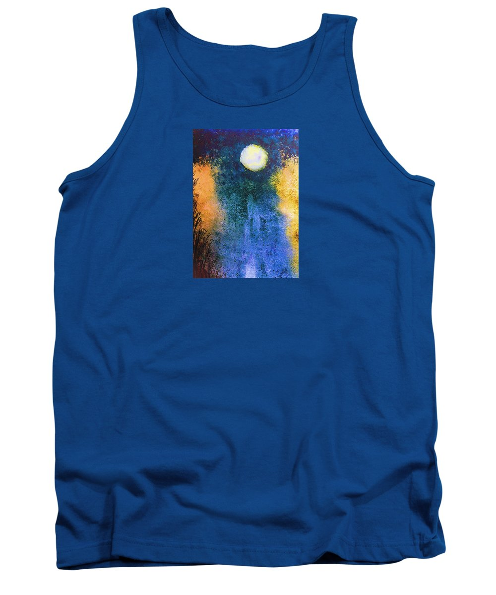 Blue Moon Tank Top featuring the painting Blue Moon by Ishwar Malleret