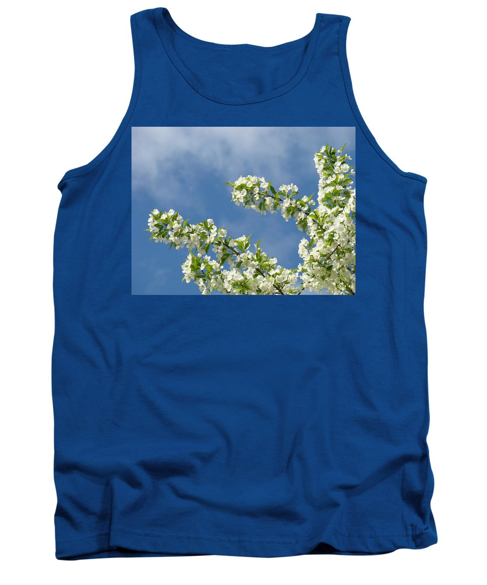 Blossom Tank Top featuring the photograph Blue Sky White Clouds Landscape Art White Tree Blossoms Spring by Baslee Troutman