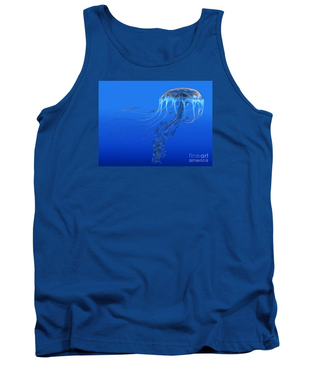 Jellyfish Tank Top featuring the painting Blue Spotted Jellyfish by Corey Ford