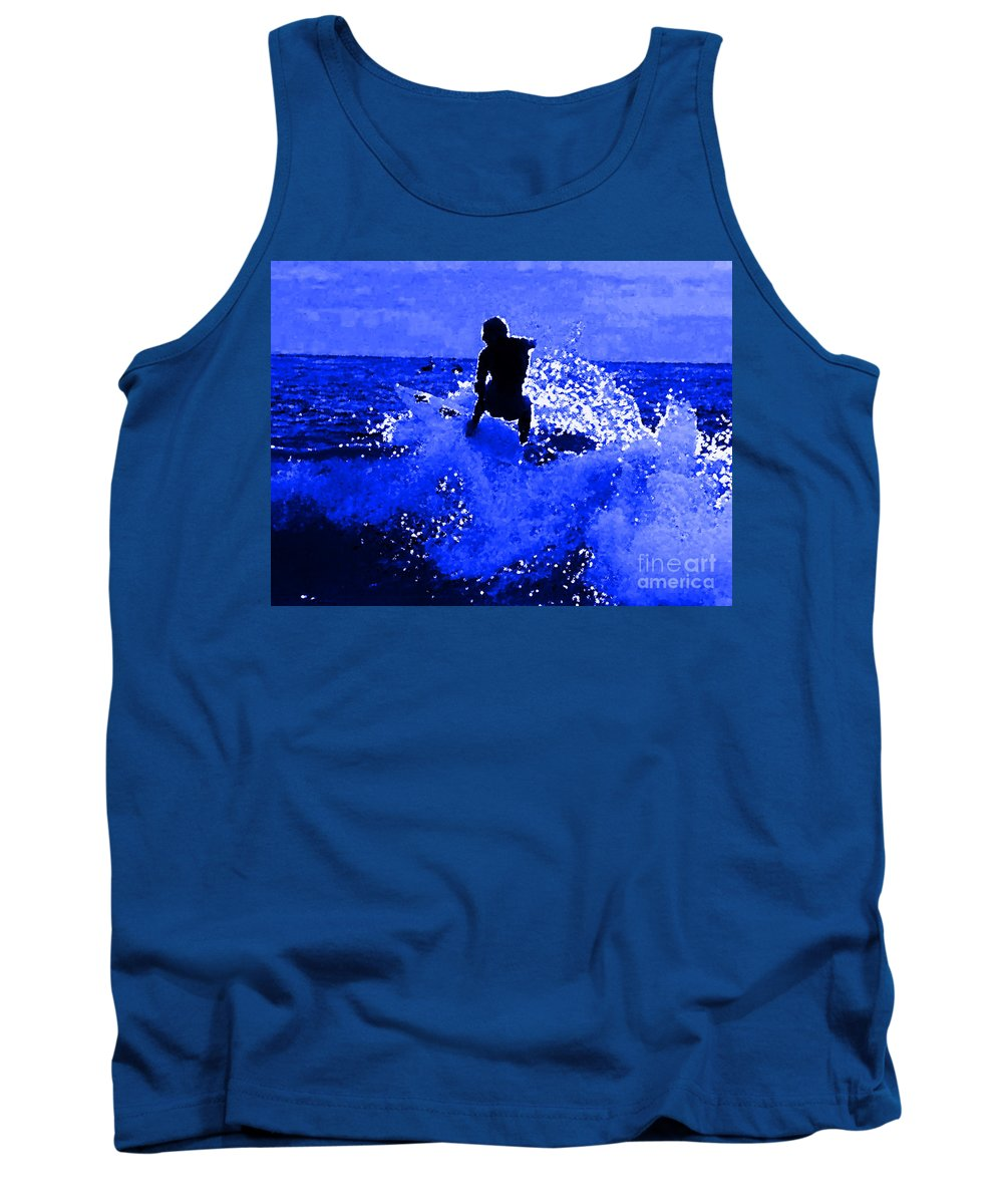 Blue Surf Tank Top featuring the painting Blue Surf by R Muirhead Art