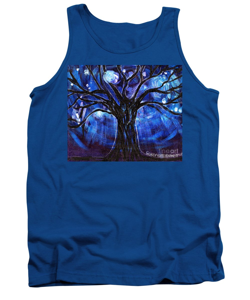 Tree Tank Top featuring the painting Blue Tree At Night by Genevieve Esson