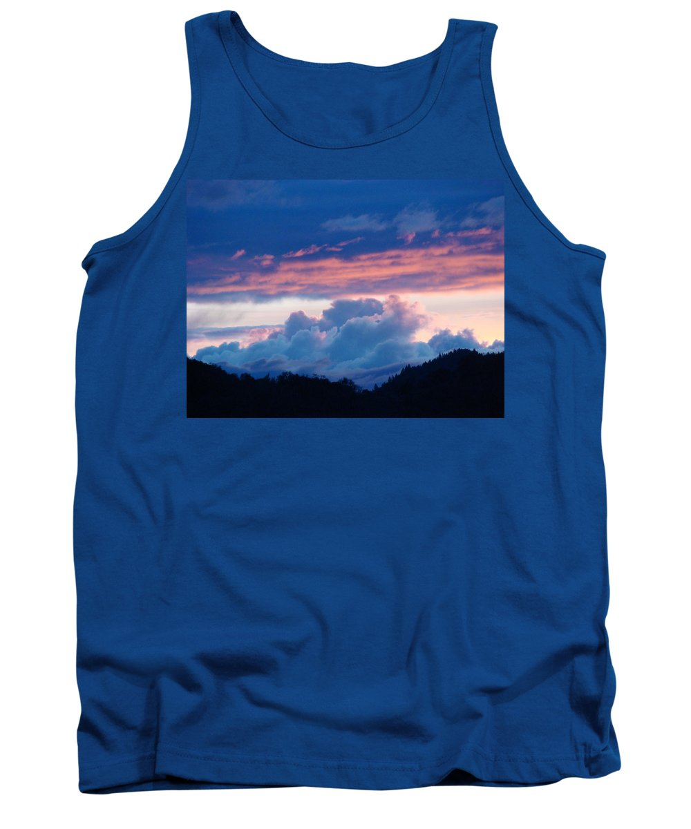 Sunset Tank Top featuring the photograph Blue Twilight Clouds Art Prints Mountain Pink Sunset Baslee Troutman by Baslee Troutman