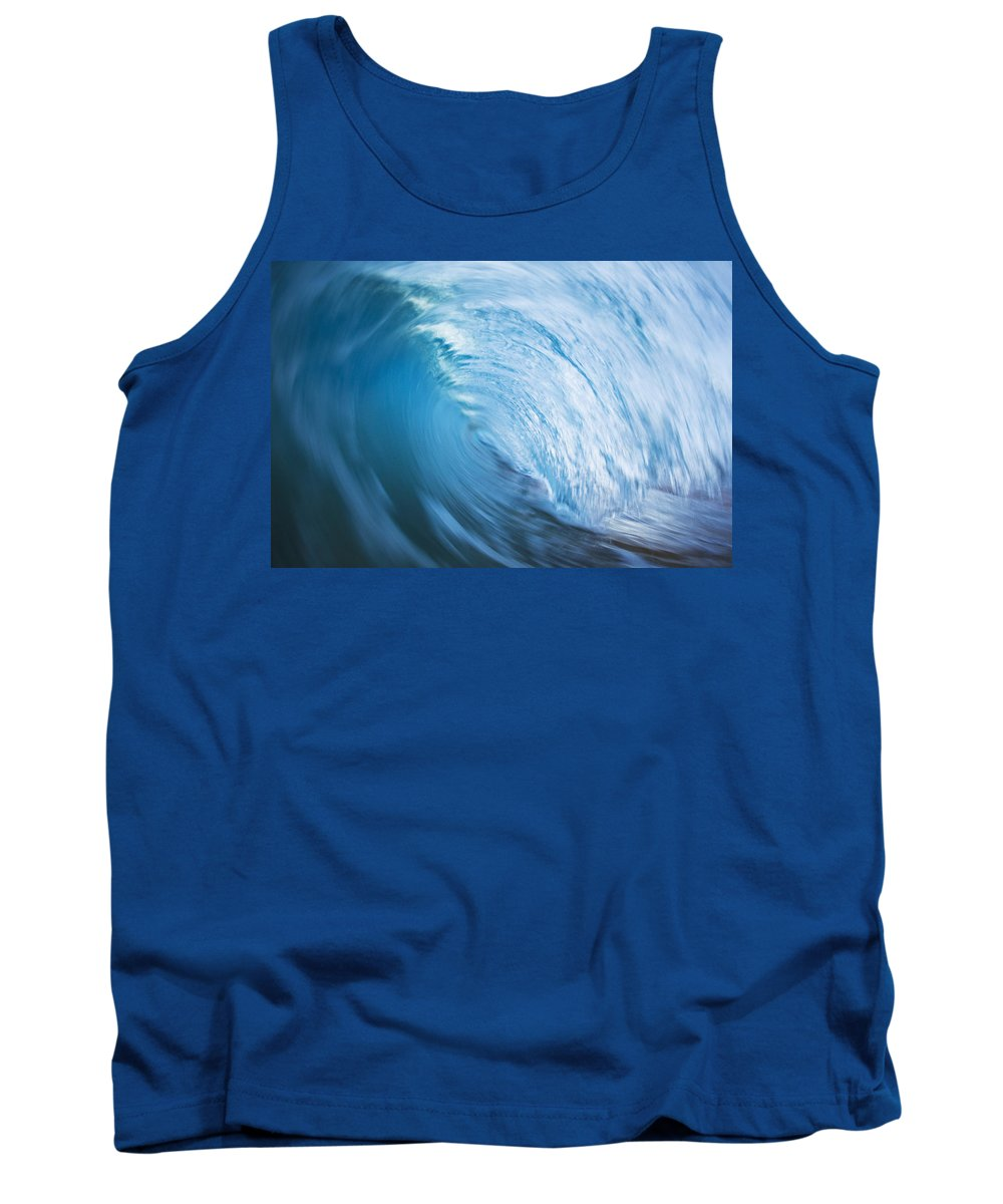 Abstract Tank Top featuring the photograph Blue Wave Tube Blur by MakenaStockMedia