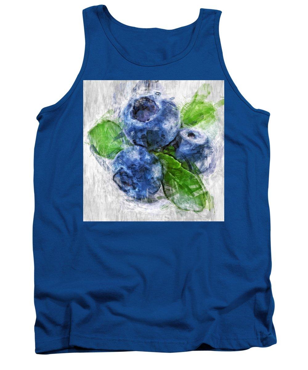 Blueberries Tank Top featuring the digital art Blueberries by Tanya Gordeeva