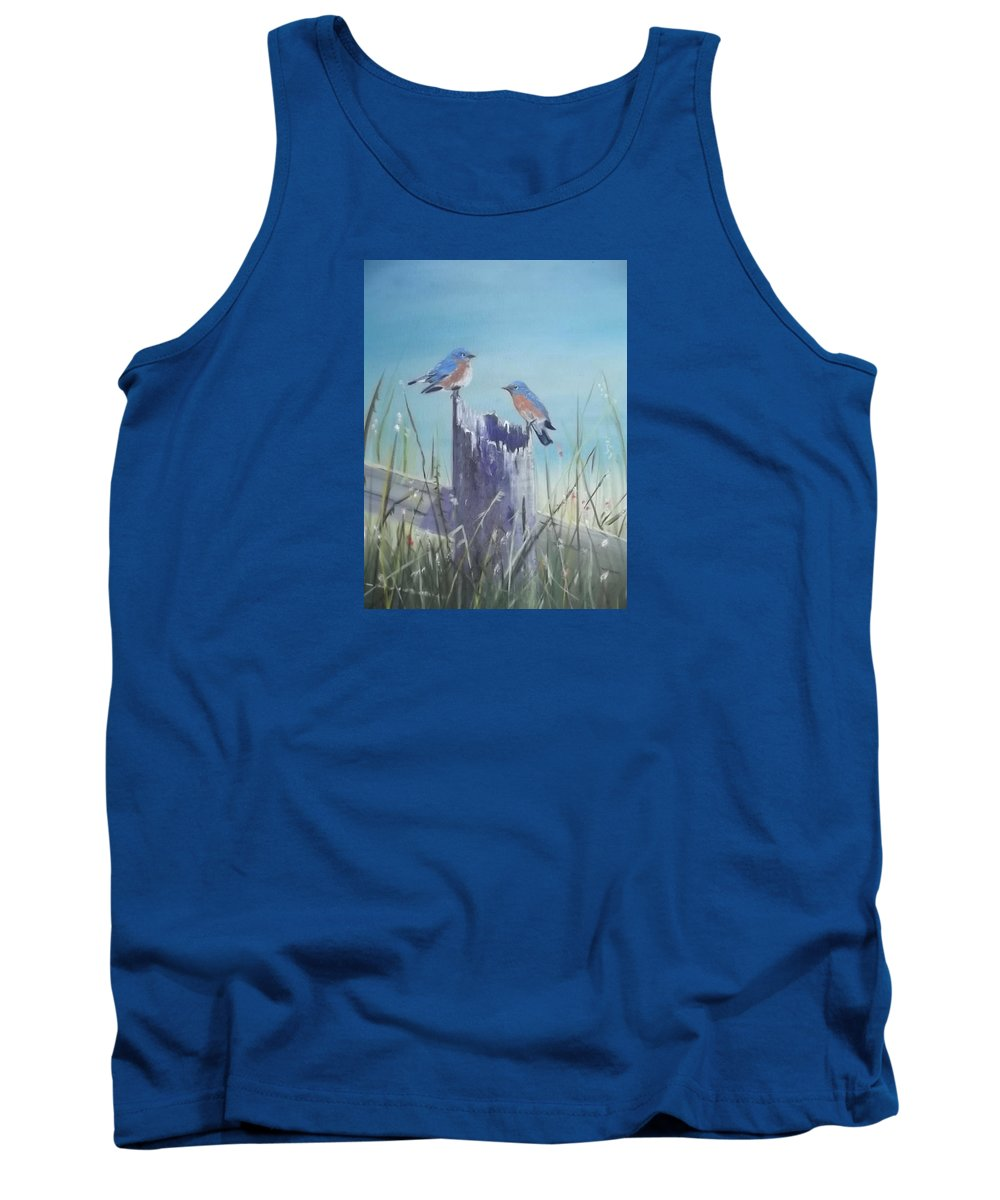 Wildlife Tank Top featuring the painting Bluebirds On Post by Cynthia Geiger