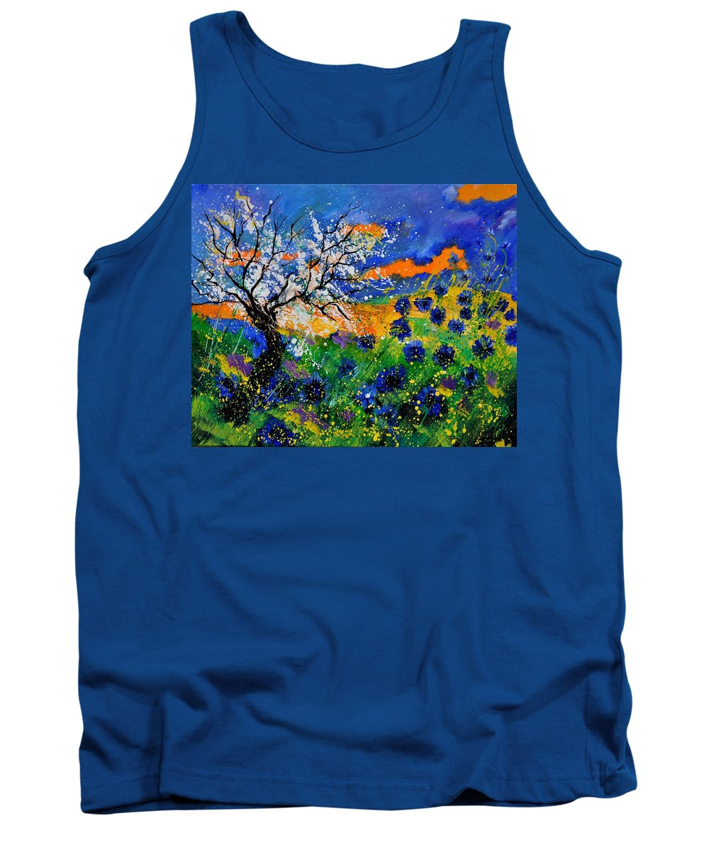 Poppies Tank Top featuring the painting Bluecornflowers 451120 by Pol Ledent