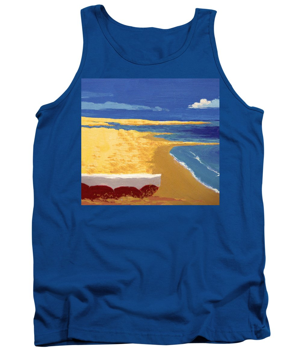 Boat Tank Top featuring the painting Boat On The Sand Beach by Alban Dizdari