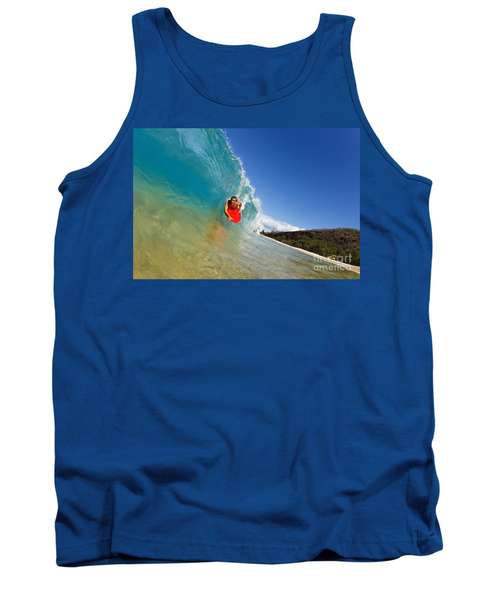 Action Tank Top featuring the photograph Boogie Boarding At Makena by MakenaStockMedia - Printscapes