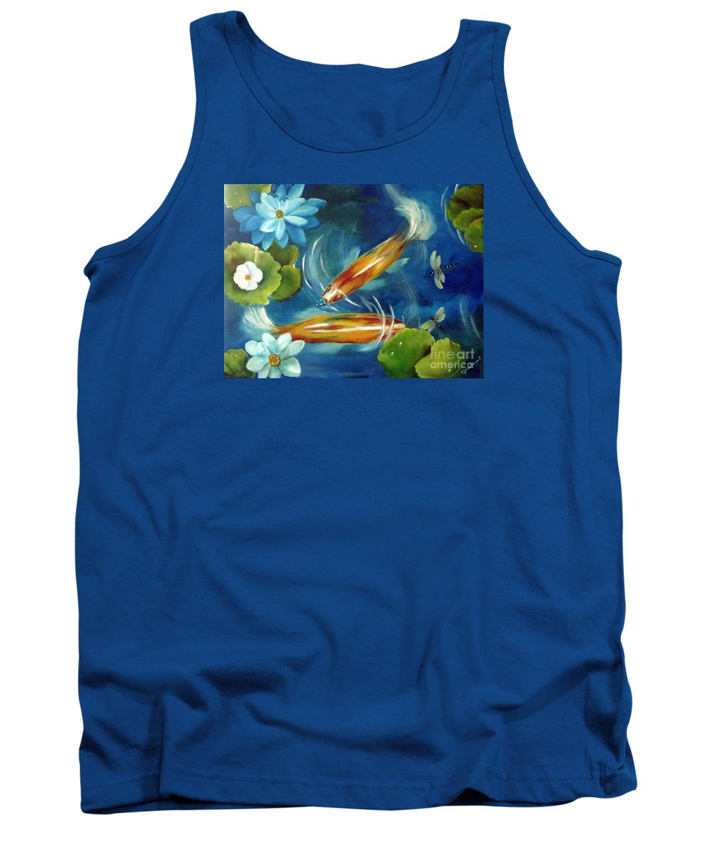 Koi Tank Top featuring the painting Bubble Maker by Carol Sweetwood