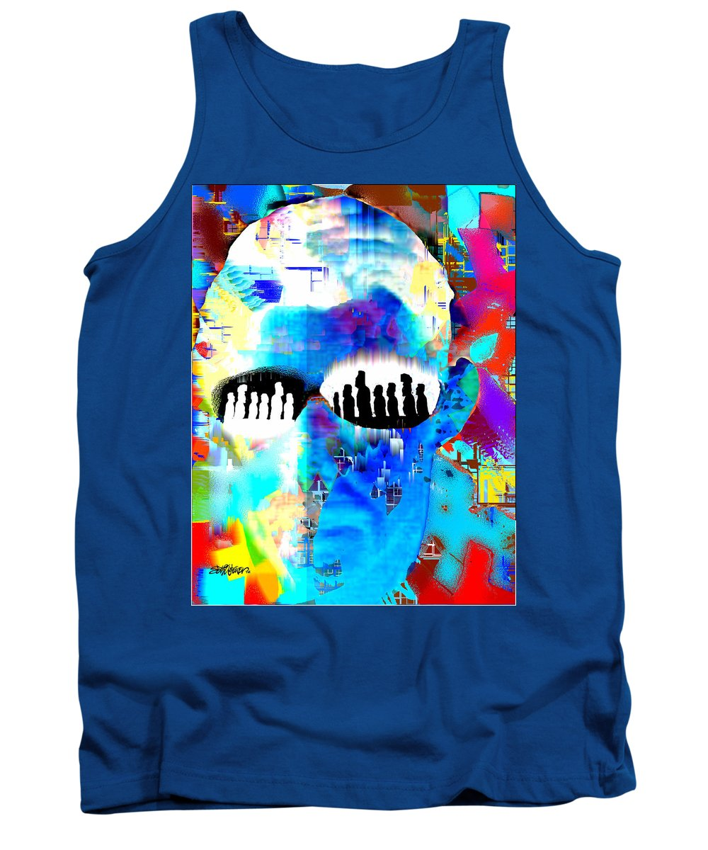 Button Down Tank Top featuring the digital art Button Down Disasters by Seth Weaver