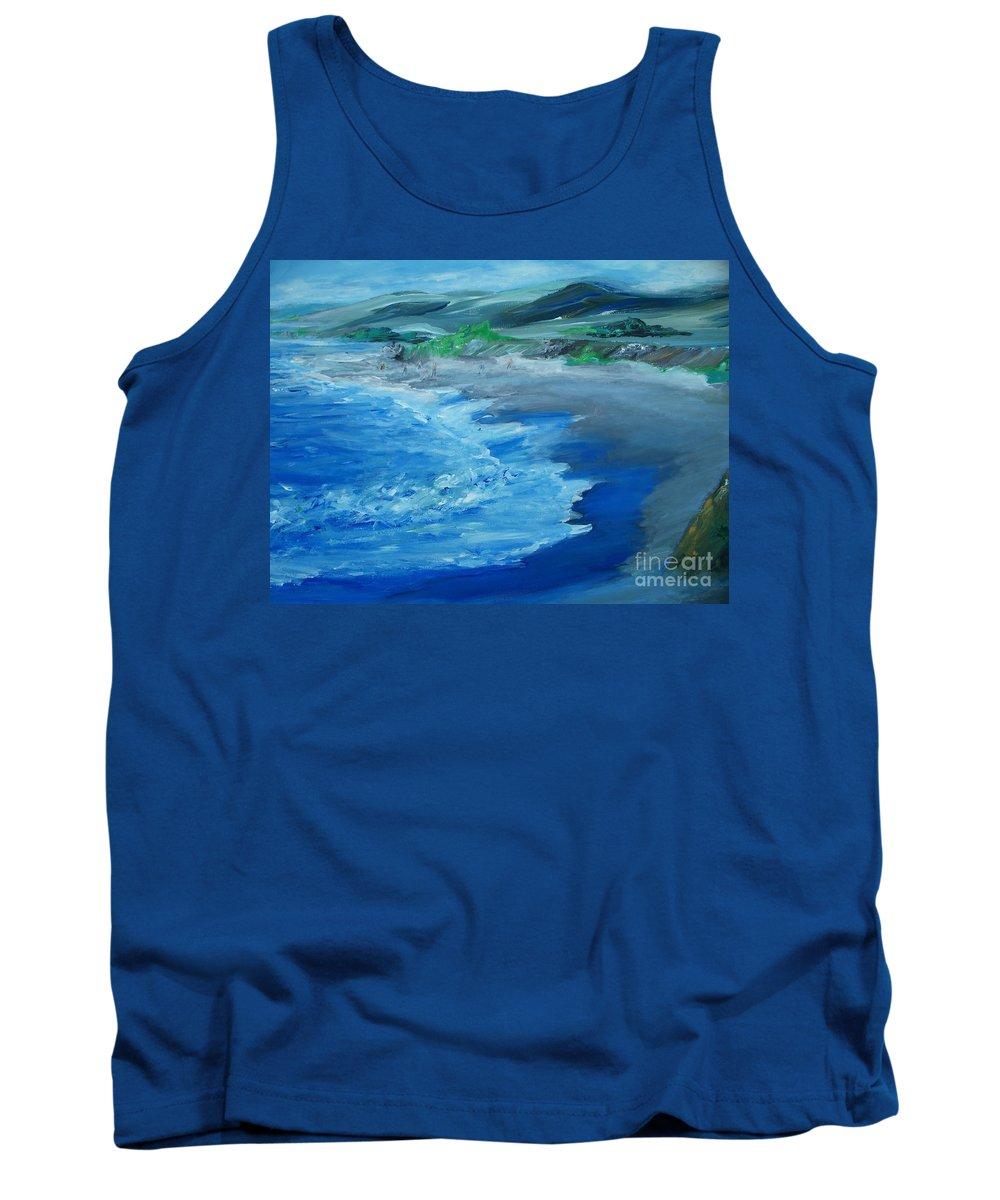 California Coast Tank Top featuring the painting California Coastline Impressionism by Eric Schiabor