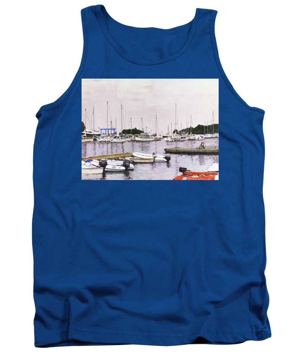 Camden Tank Top featuring the painting Camden Maine Marina by Thomas Michael Meddaugh