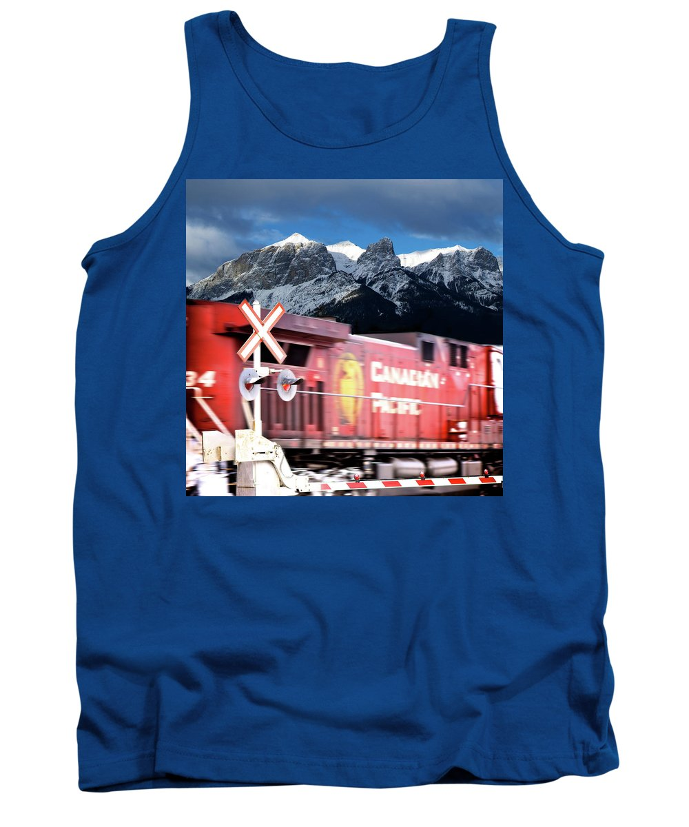 Train Tank Top featuring the photograph Canadian Pacific Trail Slices Through The Rockies by Lisa Knechtel