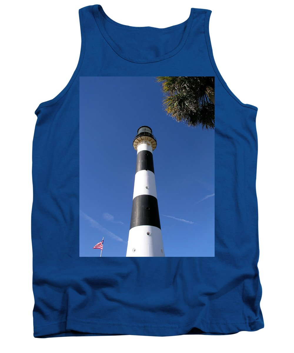 Cape; Canaveral; Light; Lighthouse; Lighthousekeeper; Keeper; Stairs; Kennedy; Space; Center; Air; F Tank Top featuring the photograph Canaveral Light by Allan Hughes