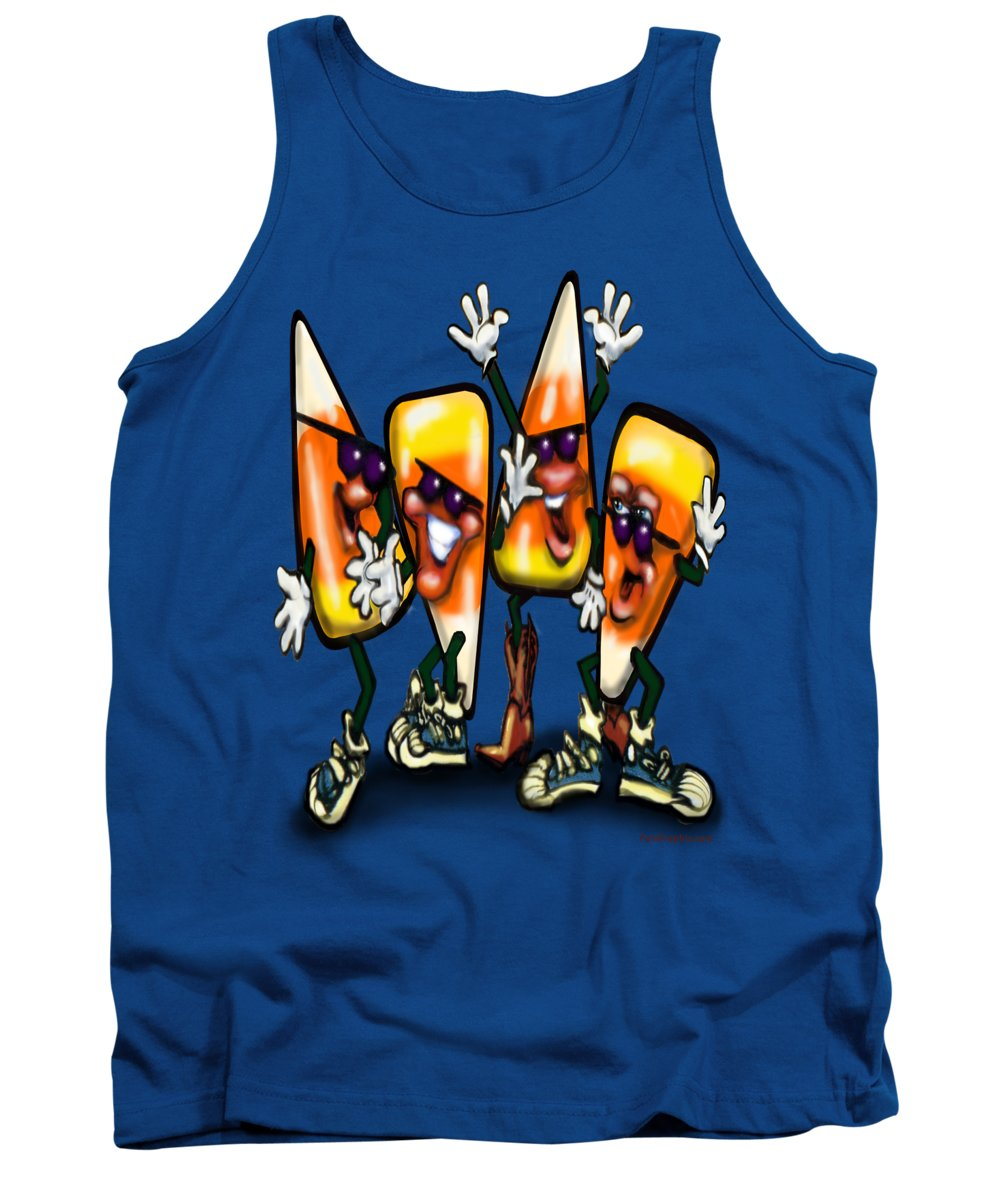 Candy Tank Top featuring the digital art Candy Corn Gang by Kevin Middleton