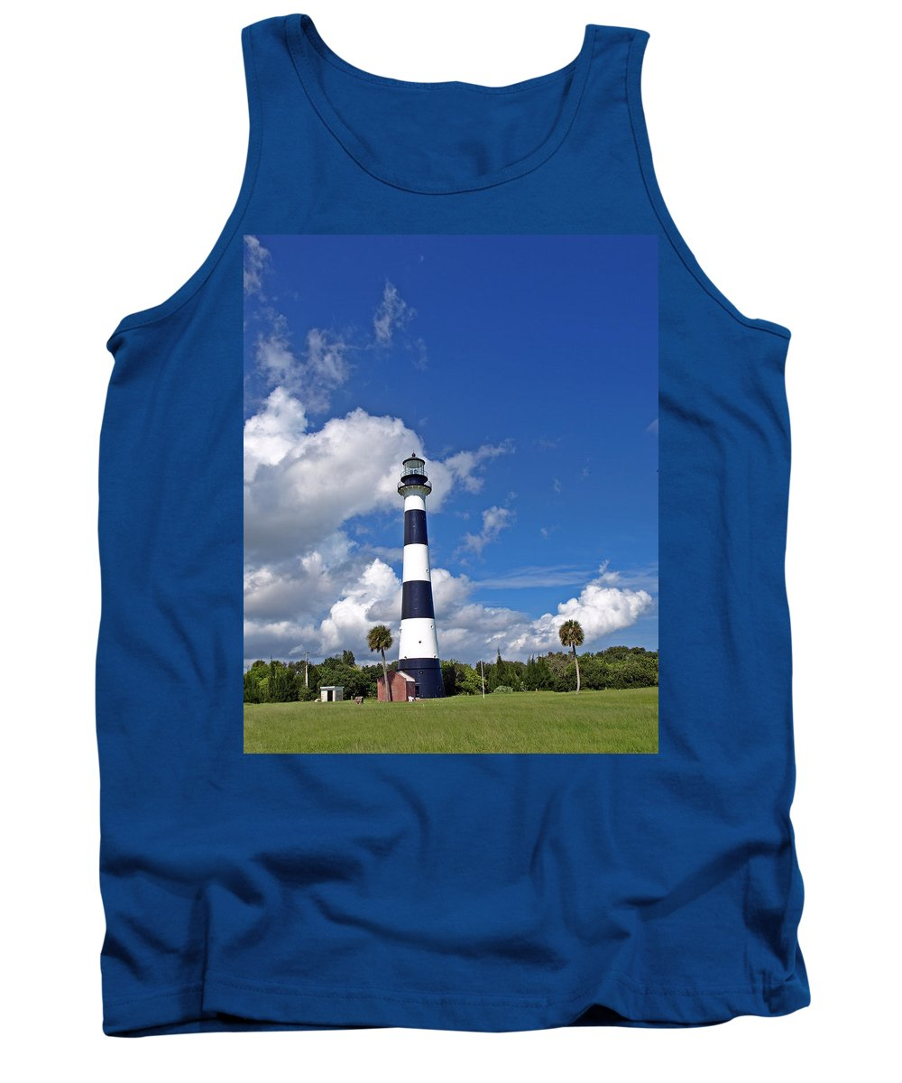 Lighthouse; Light; Canaveral; Cape; Cape Canaveral; Ccafs; Florida; East; Coast; Kennedy; Space; Cen Tank Top featuring the photograph Cape Canaveral Light In Florida by Allan Hughes
