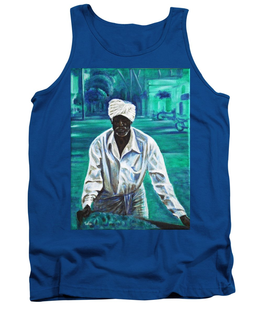 Indian Tank Top featuring the painting Cart Vendor by Usha Shantharam