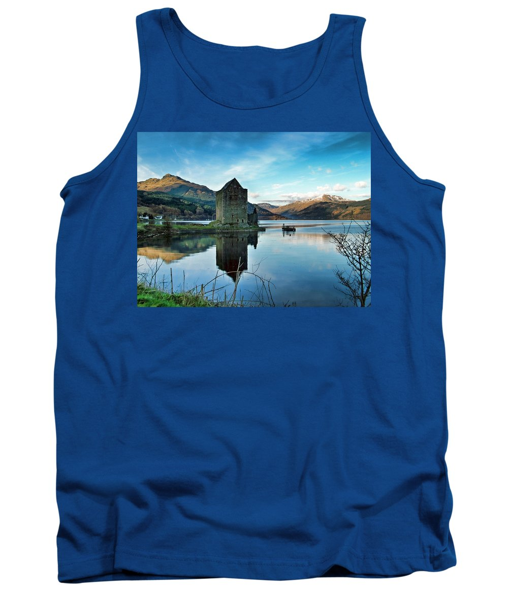 Castle Tank Top featuring the photograph Castle On The Loch by Lynn Bolt