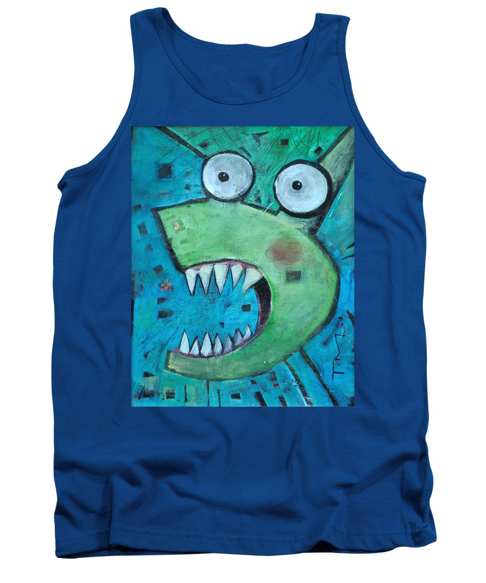 Cat Tank Top featuring the painting Catsastrophe by Tim Nyberg