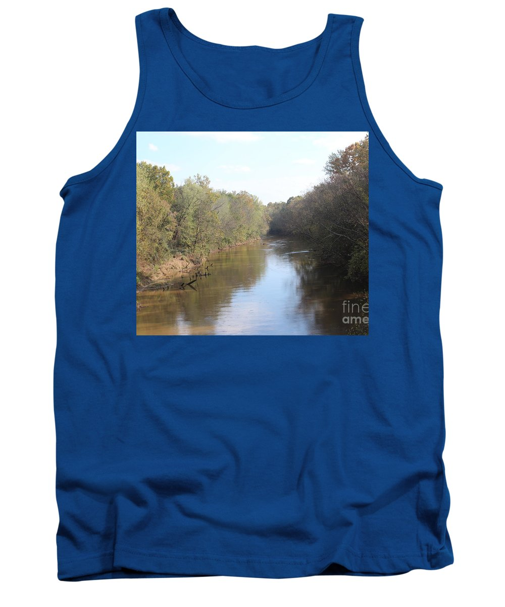 Amy Wilkinson Tank Top featuring the photograph Center River by Amy Wilkinson