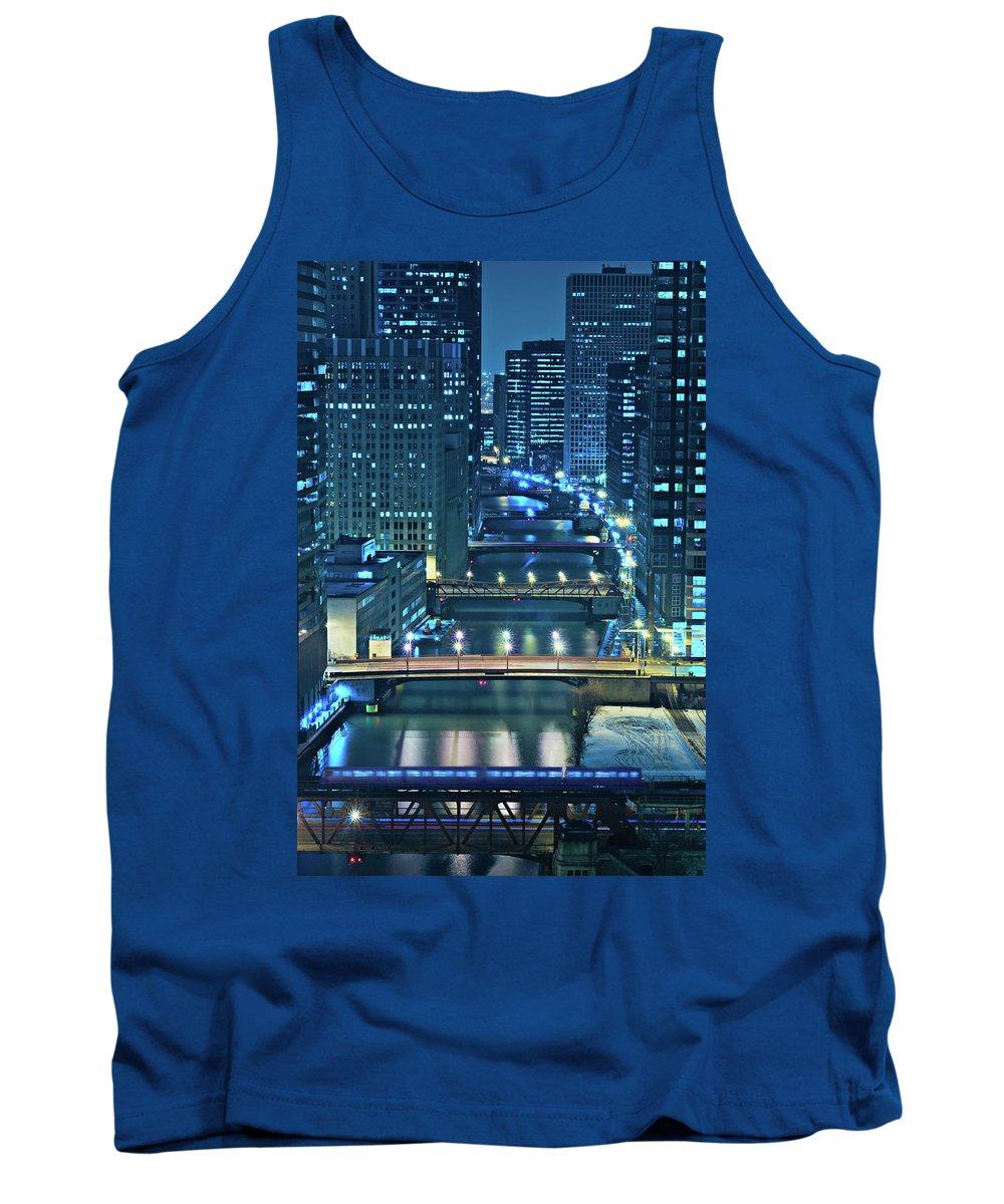 Chicago Tank Top featuring the photograph Chicago Bridges by Steve Gadomski