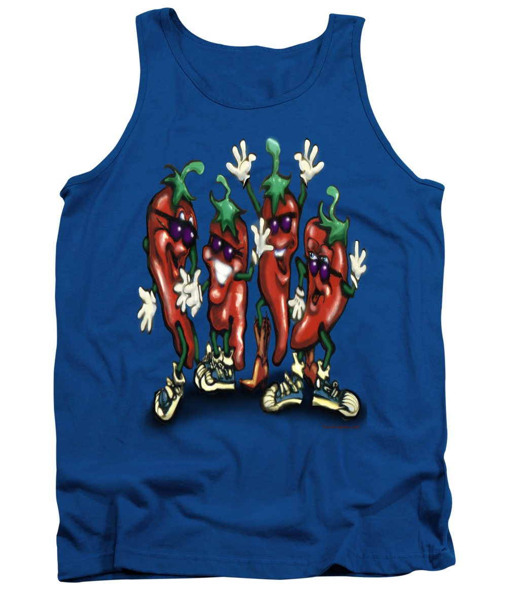 Chili Tank Top featuring the digital art Chili Peppers Gang by Kevin Middleton