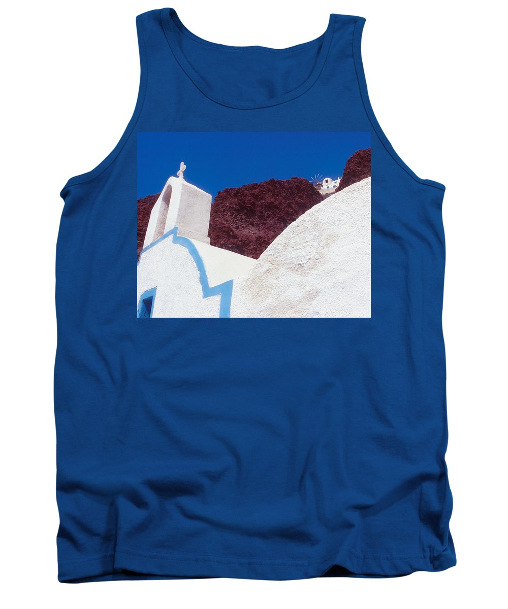 Greece Tank Top featuring the photograph Church And Windmill In Santorini Greece by Yuri Lev