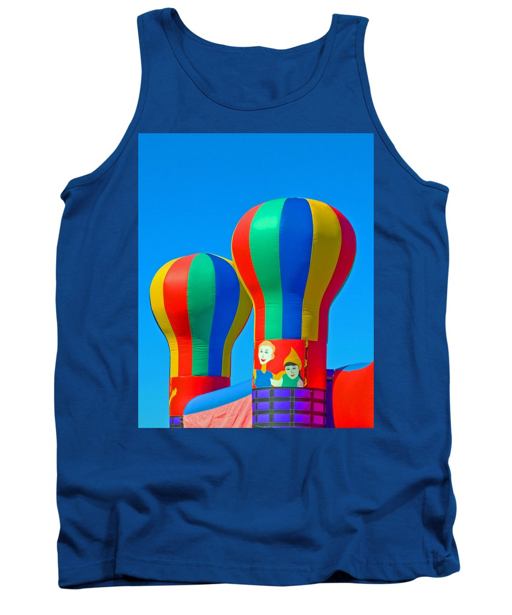 Pillow; Sky; Circus; Carnival; Country; Fair; Ball; Balloon; Colors; Colorful; Bounce; House; Castle Tank Top featuring the photograph Circus In The Sky - Three by Allan Hughes