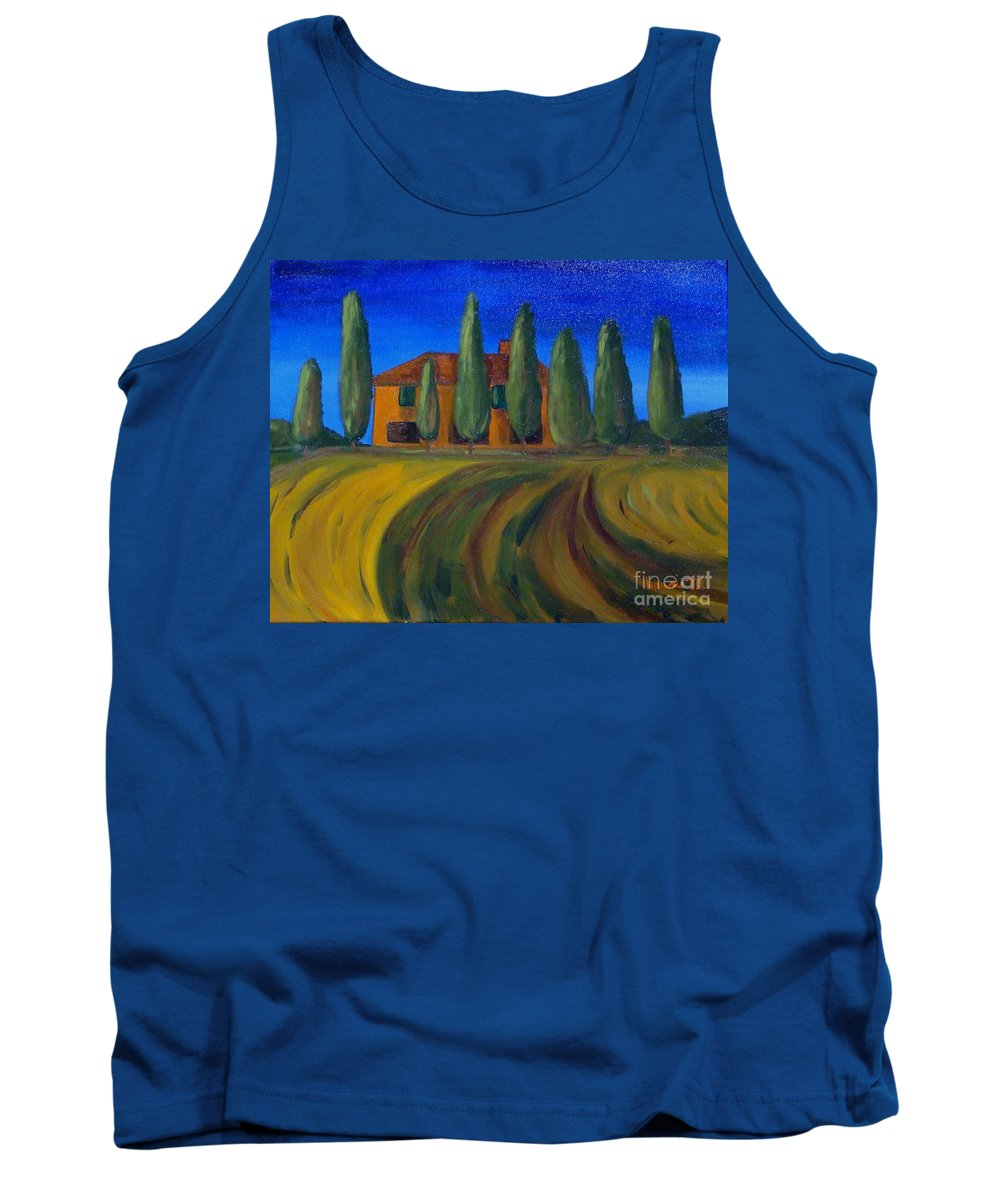Tuscany Tank Top featuring the painting Classic Tuscan Sunset by Laurie Morgan