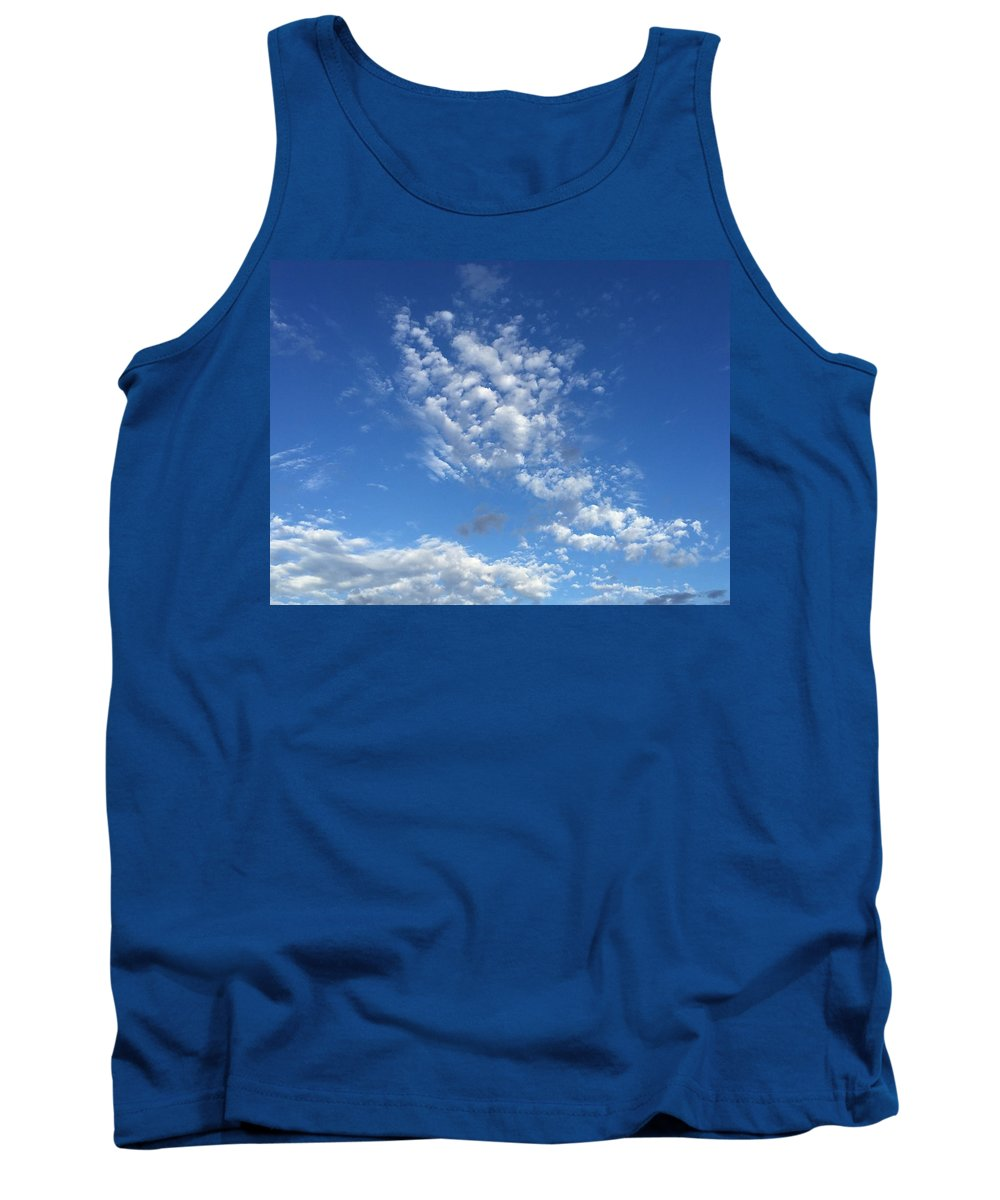 Medium Blue Sky Silver Gray Clouds Cloudscape Tank Top featuring the photograph Cloudscape by Russell Keating