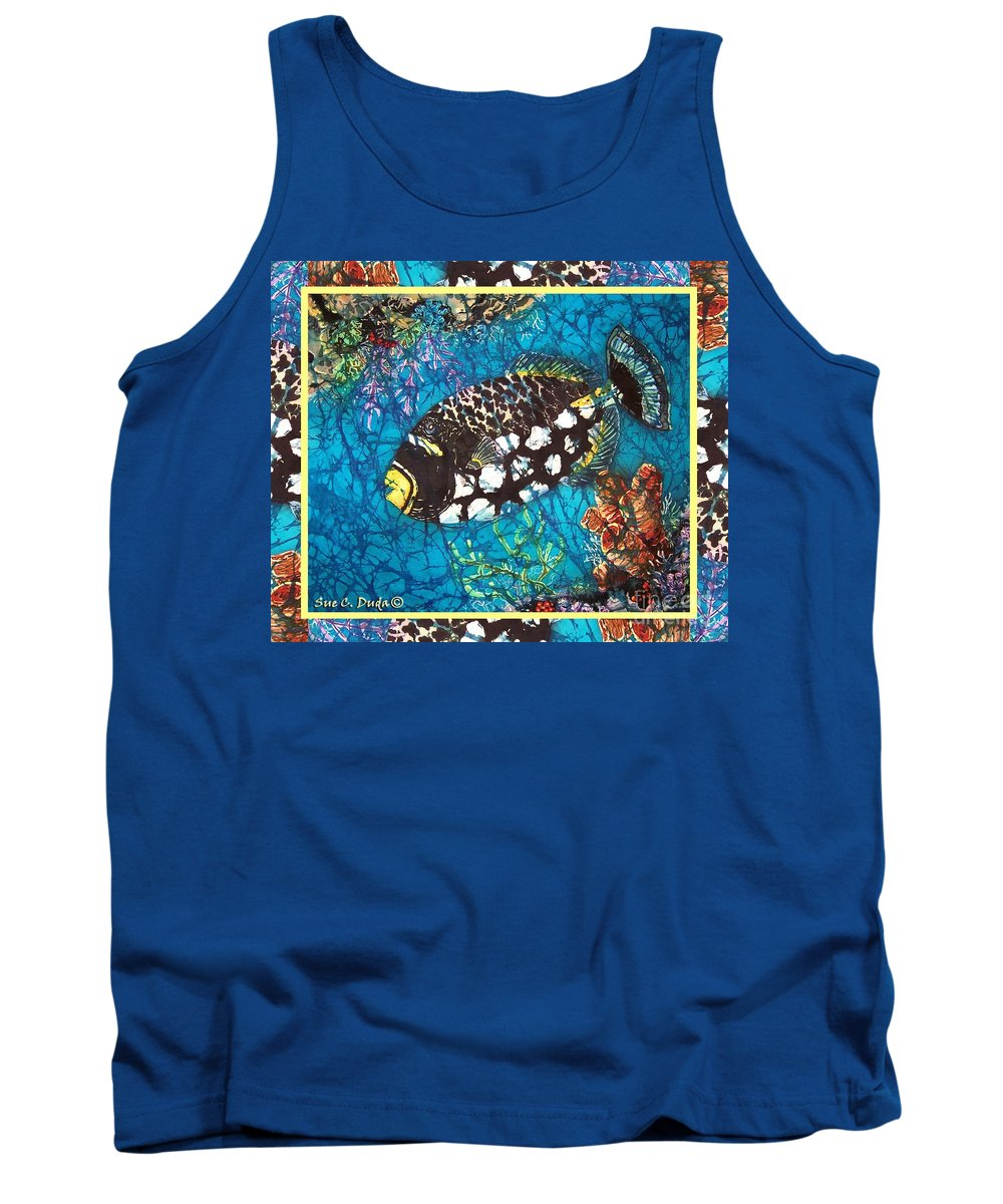 Batik Tank Top featuring the painting Clown Triggerfish-bordered by Sue Duda