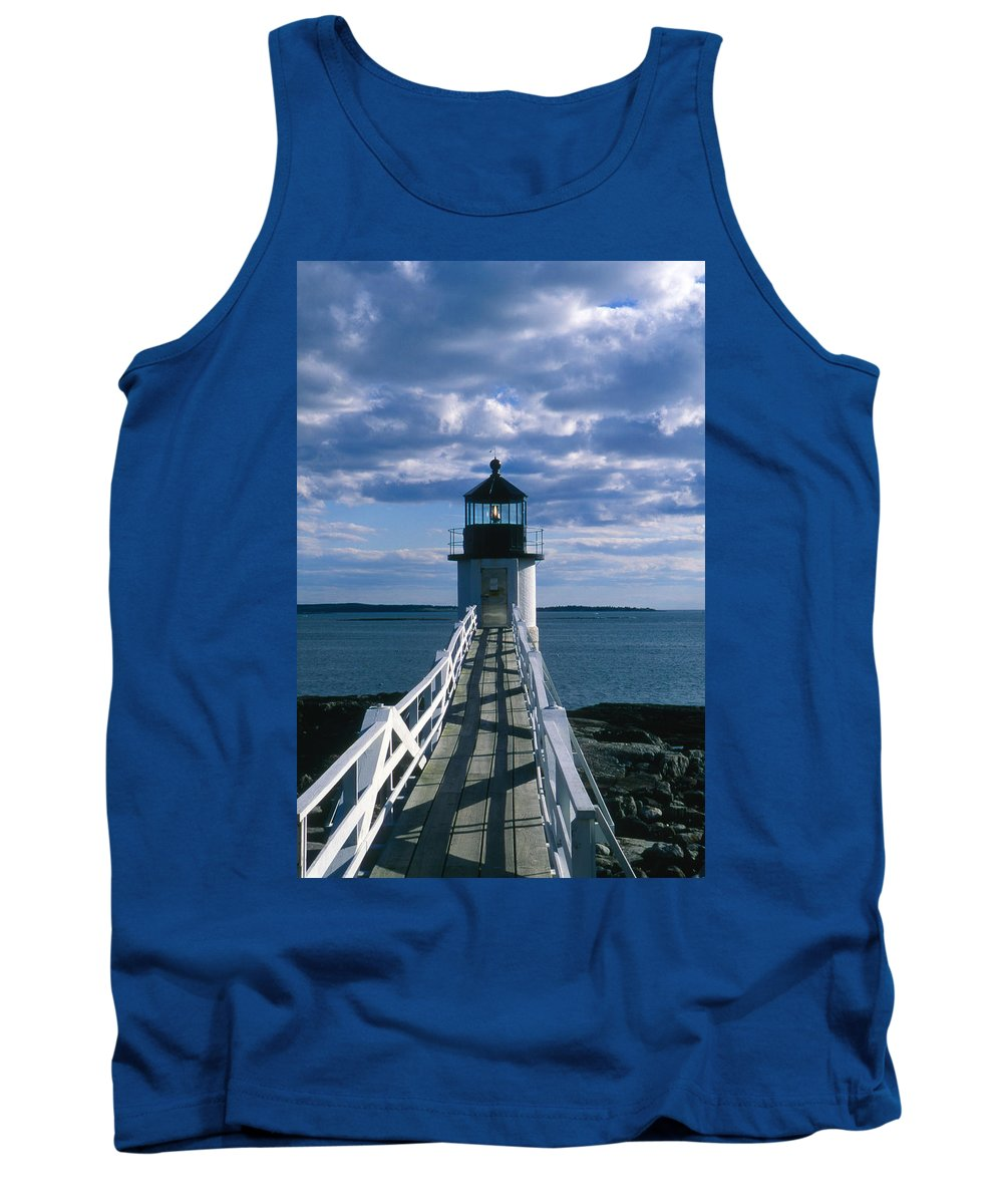 Landscape Lighthouse New England Marshall Point Light Port Clyde Tank Top featuring the photograph Cnrh0603 by Henry Butz