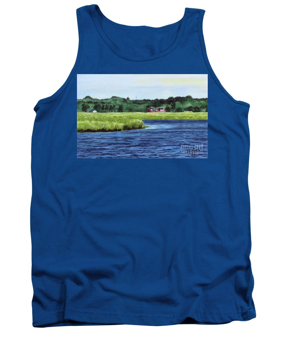 Seascape Tank Top featuring the painting Cohansey River by Barry Levy
