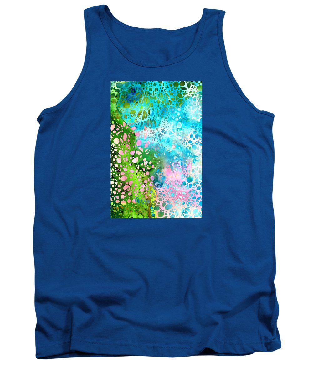 Abstract Tank Top featuring the painting Colorful Art - Enchanting Spring - Sharon Cummings by Sharon Cummings