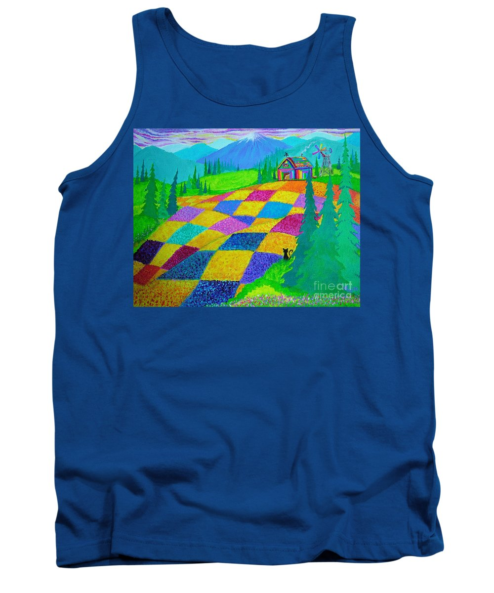 Colorful Fields Tank Top featuring the painting Colorful Fields by Nick Gustafson