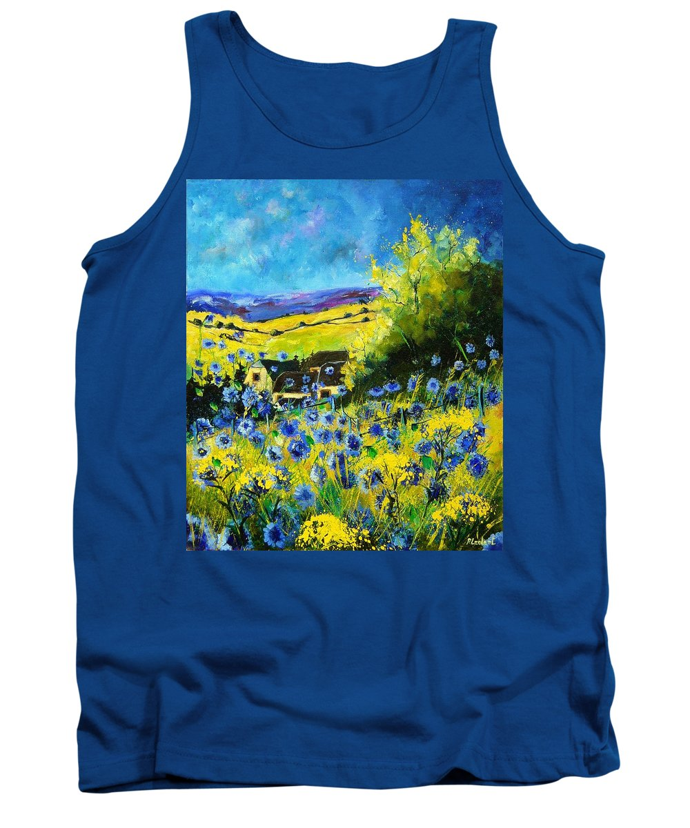 Flowers Tank Top featuring the painting Cornflowers In Ver by Pol Ledent