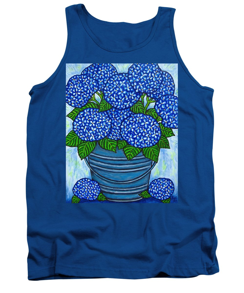 Blue Tank Top featuring the painting Country Blues by Lisa Lorenz