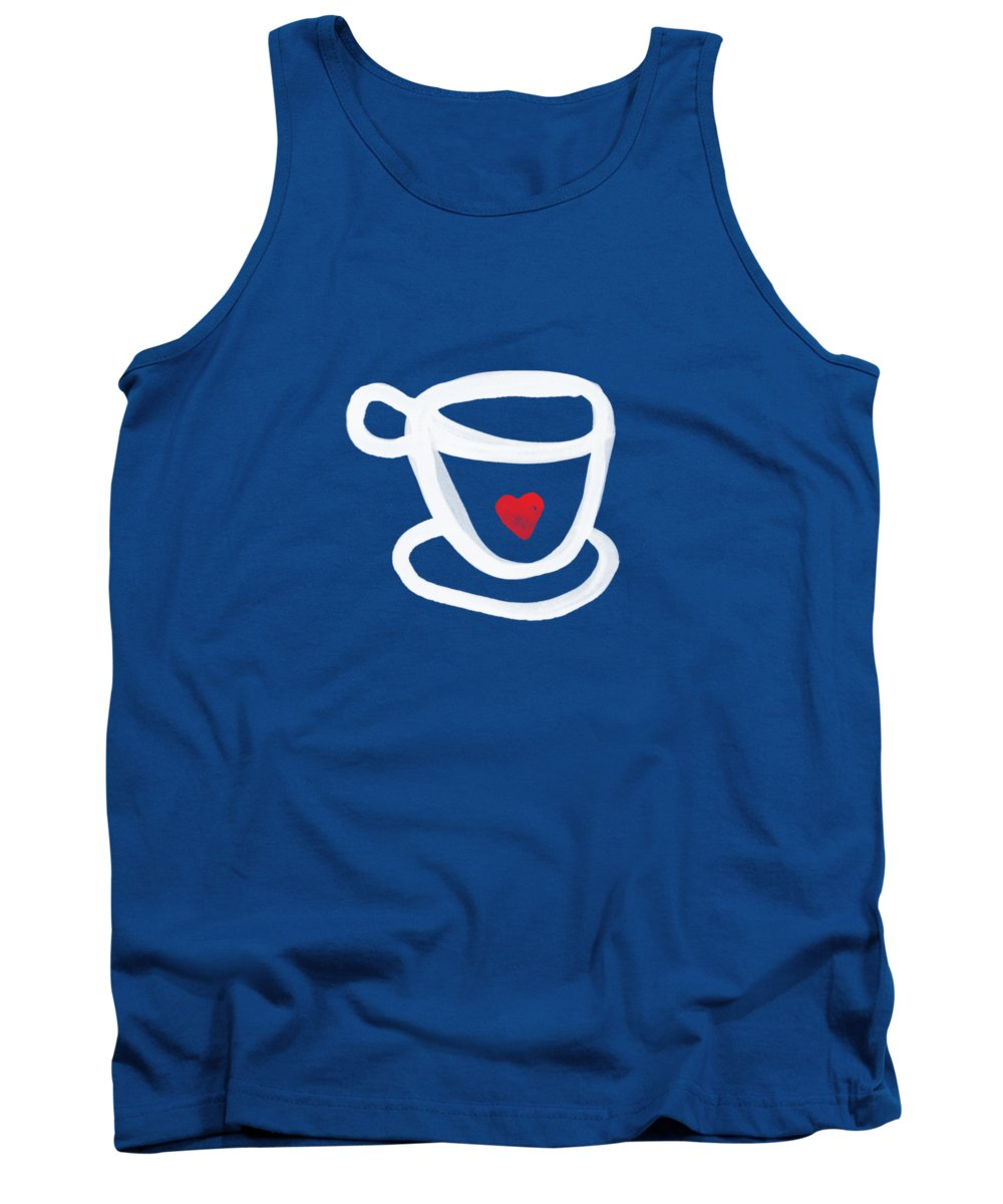 Coffee Tank Top featuring the painting Cup Of Love- Shirt by Linda Woods