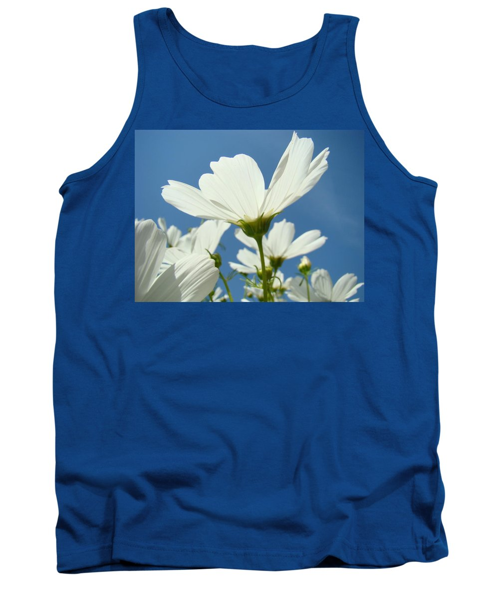 Daisy Tank Top featuring the photograph Daisies Floral Art Prints Canvas Daisy Flowers Blue Skies by Baslee Troutman