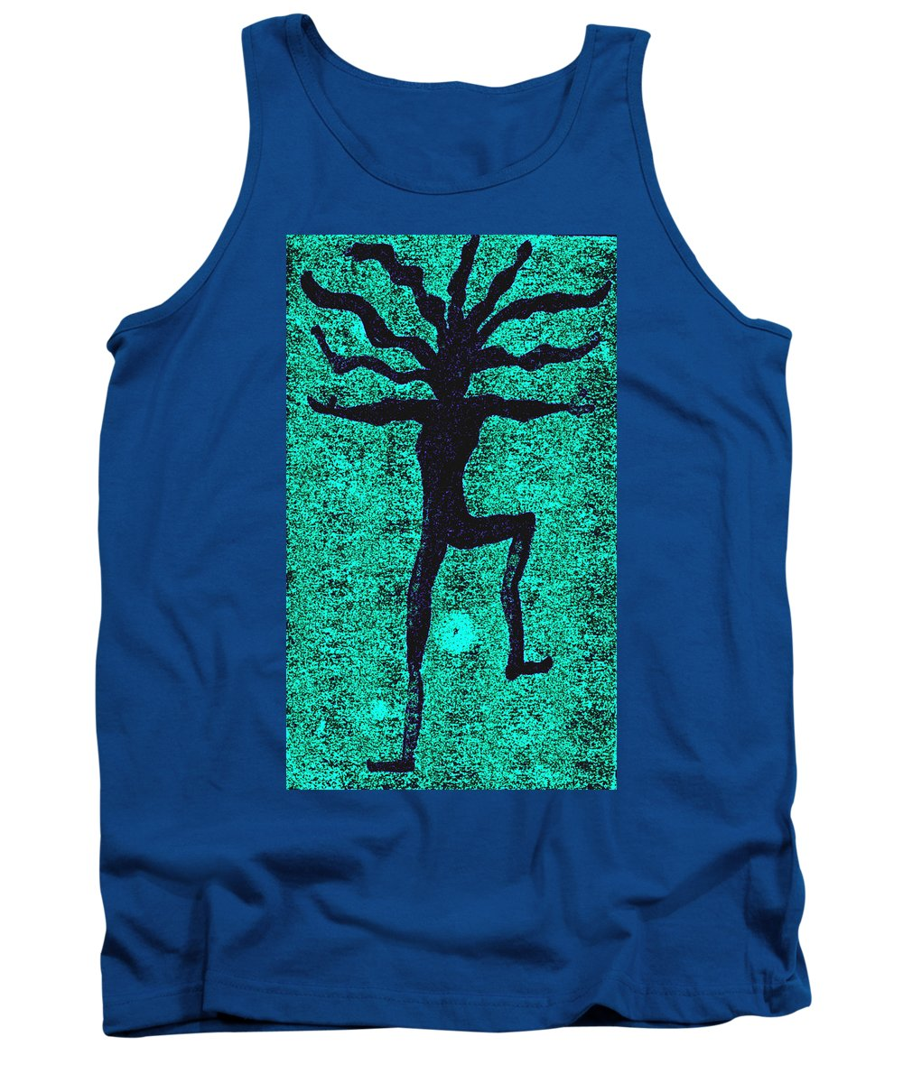 Dance Tank Top featuring the painting Dancing At The Creation Of The Green Earth by Wayne Potrafka