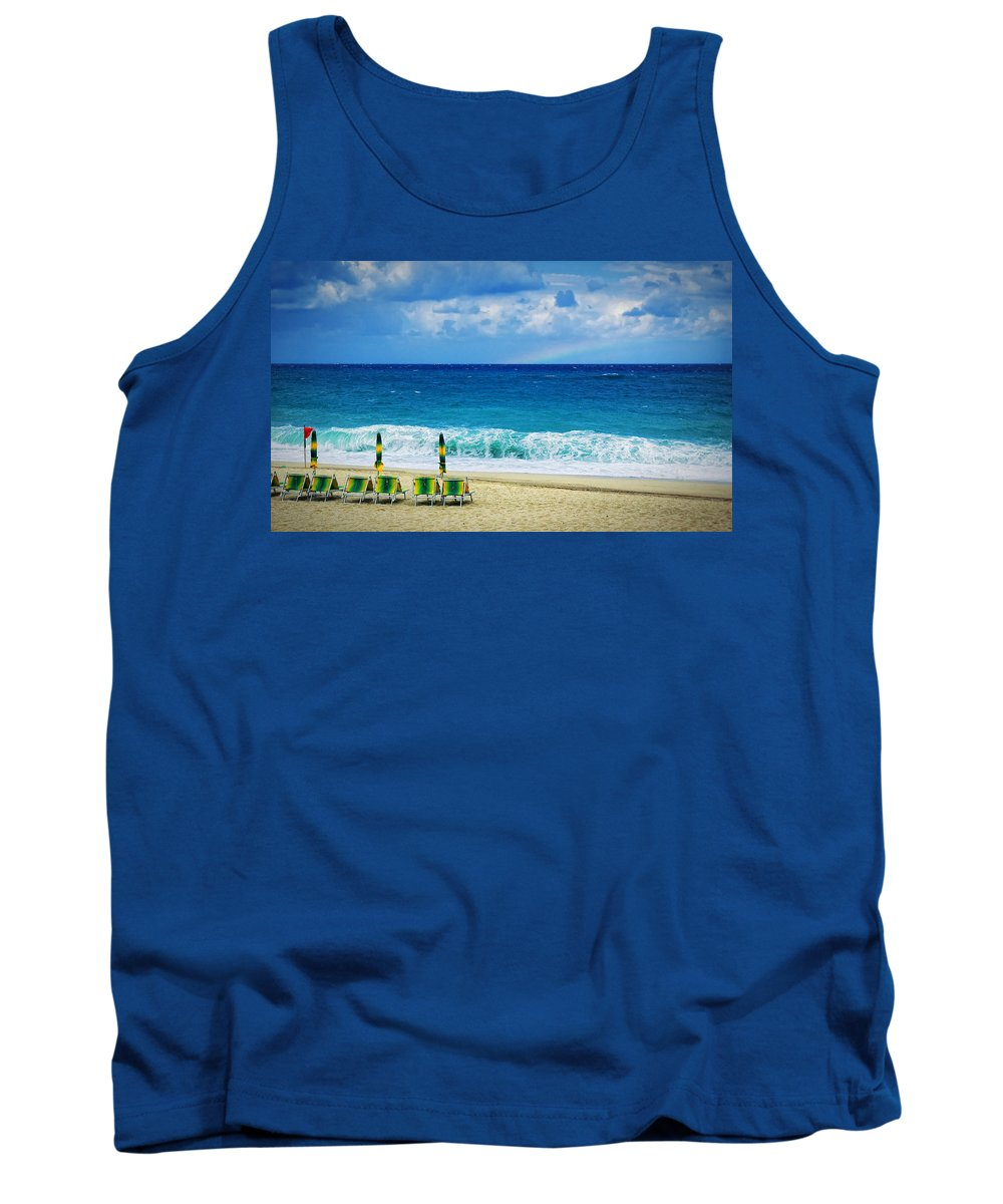 Deck Chairs Tank Top featuring the photograph Deck Chairs And Distant Rainbow by Silvia Ganora