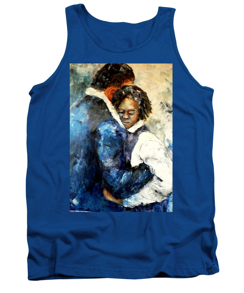 People Tank Top featuring the painting Departure by Shuly Haimsohn Weiner
