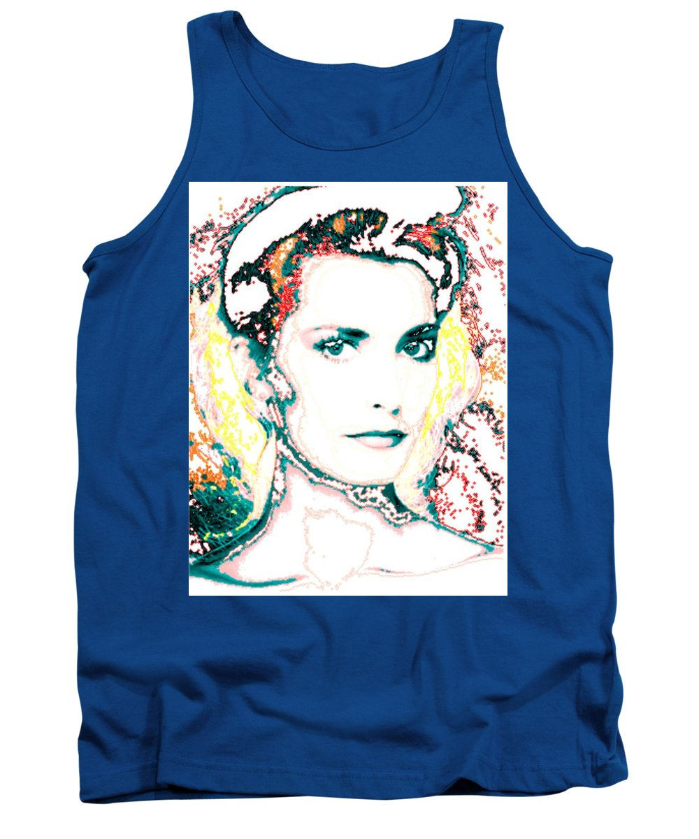 Digital Tank Top featuring the digital art Digital Self Portrait by Kathleen Sepulveda